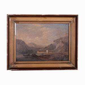 River Landscape, Oil on Cardboard, Late 19th Century
