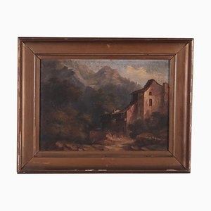Paesaggio di montagna, olio su cartone, fine XIX secolo