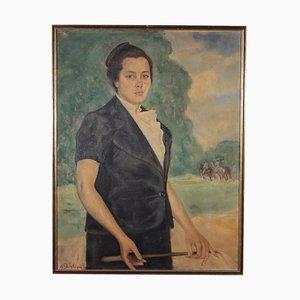 Francesco Ghisleni, Porträt einer jungen Frau, Öl auf Leinwand, 1930er