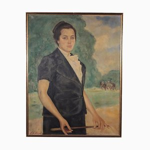 Francesco Ghisleni, Portrait of a Young Woman, Oil on Canvas, 1930s