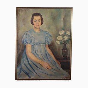 Francesco Ghisleni, Portrait of a Child, Oil on Canvas, 1937
