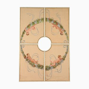 Ceiling Panels Tempera on Canvas, Mid 1900s