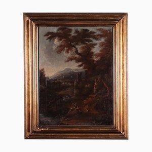 Paesaggio con figure, olio su tela, XVIII secolo