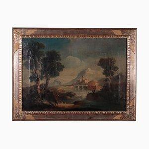 Paisaje con figuras, siglo XVIII, óleo sobre lienzo