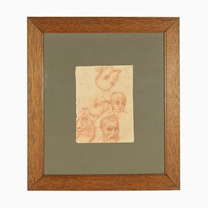 Study of Heads, Blood on Paper, 19th Century