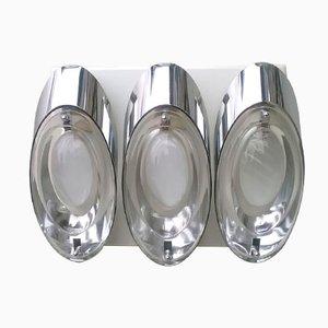 Chrom und Glas Wandlampe von Oscar Torlasco für Stilkronen, 1960er