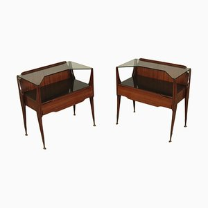 Bedside Tables with Rosewood Veneer, Italy, 1950s, Set of 2