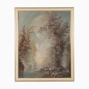 Paesaggio con figure, olio su compensato, XX secolo