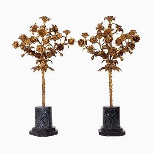 Kerzenständer aus vergoldeter Bronze, 2er Set
