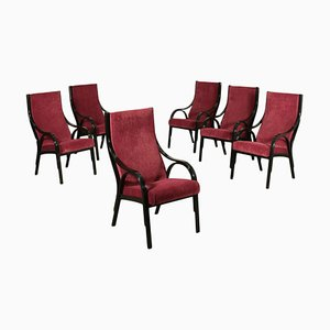 Cavour Armchairs with Lacquered Wood and Foam Fabric, Italy, 1970s, Set of 6