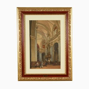 inside the Church in 1872, Mixed Media on Paper