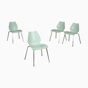 Sedie in metallo cromato di Vico Magistretti, set di 4