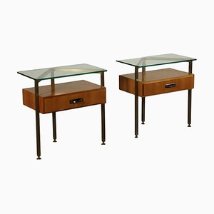 Bedside Tables with Mahogany Veneer in Brass and Glass, Italy 1960s, Set of 2