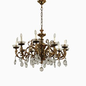 Brass and Bronze Ten Light Chandelier