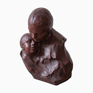 Belgian Art Deco Ceramic Bust of Mother and Child by Georges Wasterlain