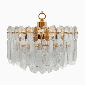 Modernist Three-Tiered Textured Glass Chandelier from Kalmar