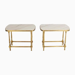 Hollywood Regency Side Tables in Bronze and Marble, Set of 2