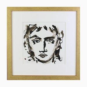 Hans-Henrik Husemann, Face To Face, Sepia Zeichnung