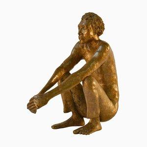 Waiting Man Dutch Bronze Sculpture, 1986