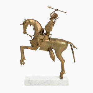African Tribal Bronze Sculpture - Female Warrior on a Horse