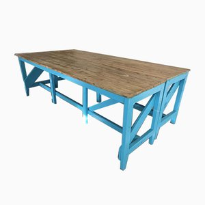 Light Blue Industrial Table, 1910s