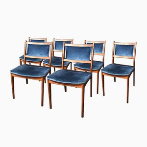 Danish Teak Dining Chairs with Blue Velvet Fabric, Set of 6