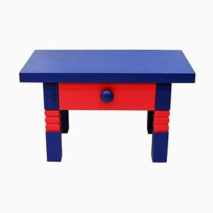 Colorful Pink and Blue Pine Table with Drawer by Erik Höglund for Eriksmålaglas, 1960s