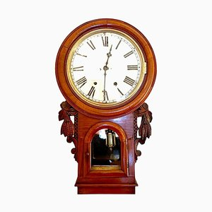 19th-Century Antique Victorian Carved Walnut Eight Day Wall Clock