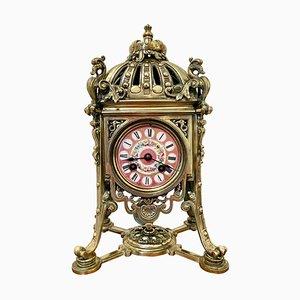 Orologio da camino antico in ottone dorato di Henry Marcs & Japy Freres, Francia