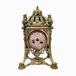 Reloj de repisa francés antiguo de latón dorado de Henry Marcs & Japy Freres