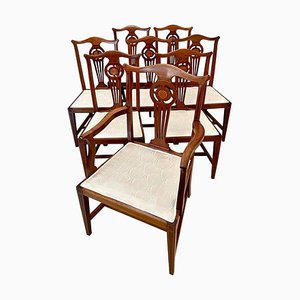 Antique 19th-Century George III Style Mahogany Inlaid Dining Chairs, Set of 8