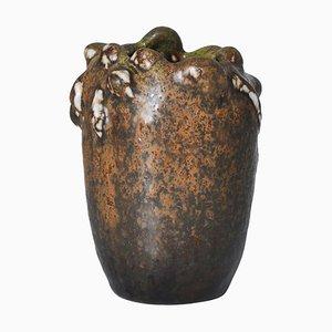 Steingut Vase im Knospungsstil mit Solfatara Glasur von Axel Salto für Royal Copenhagen