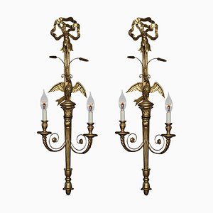 Carved and Gilded Wall Lights, Set of 2