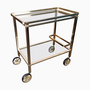 Two-Tier Brass and Glass Bar Cart with Removable Top, 1970s