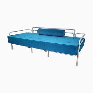 Blaues Italienisches Schlafsofa aus Stahl und Geflochtenem Samt, 1960er