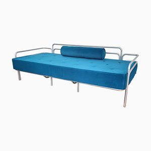 Dormeuse in acciaio e tufted blu, Italia, anni '60