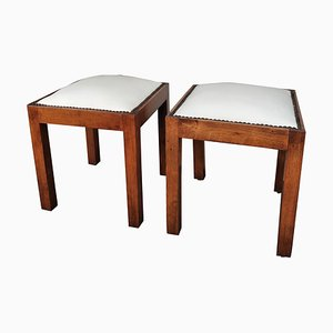 Italian Wood and White Leather Needlepoint Squared Stools, Set of 2