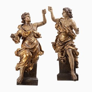 18th-Century Carved Angels, Set of 2