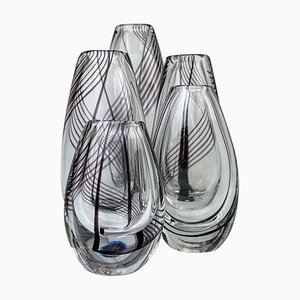 Mid-Century Art Glass Vases by Vicke Lindstrand for Kosta, Set of 5