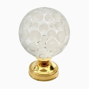 Brass and Glass Globe Table Lamp, 1970s