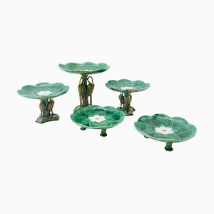 Majolica Pond Lily and Stork Cake Stands, Set of 5