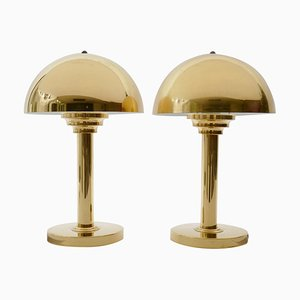 Art Deco Style Brass Mushroom Table Lamp, 1970s