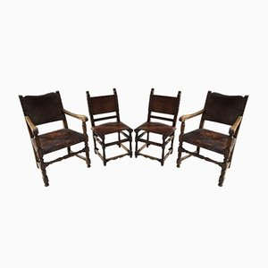 Antique Oak Leather Brass Studded Chairs, Set of 4