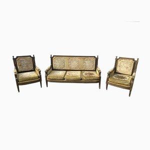 Antikes Französisches Sofa und Sessel, 3er Set