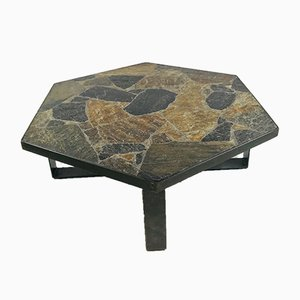 Brutalist Dutch Slate Stone & Brass Coffee Table from Paul Kingma, 1960s