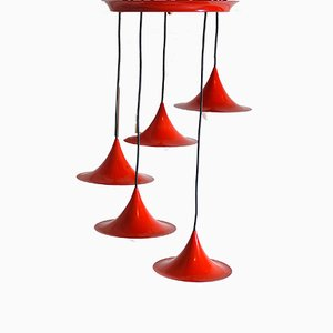 Red Lacquered Metal Cone Ceiling Lamps from Fog & Mørup, 1960s, Set of 5