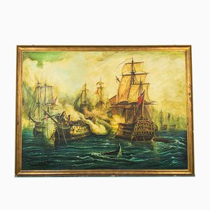 Vintage Painting of the Battle of Trafalgar Galleon, Wooden Frame
