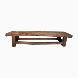 Long Waxed Finish Fir Coffee Table or Bench, 1930s