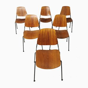 Mid-Century Teak, Plywood & Black Metal Dining Chairs by Augusto Bozzi for Saporiti Italia, 1950s, Set of 6