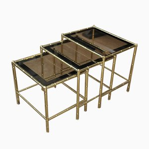 Brass and Smoked Glass Nesting Tables from Maison Baguès, 1970s, Set of 3